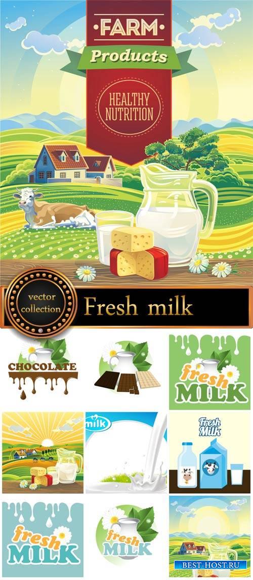 Fresh milk, vector backgrounds