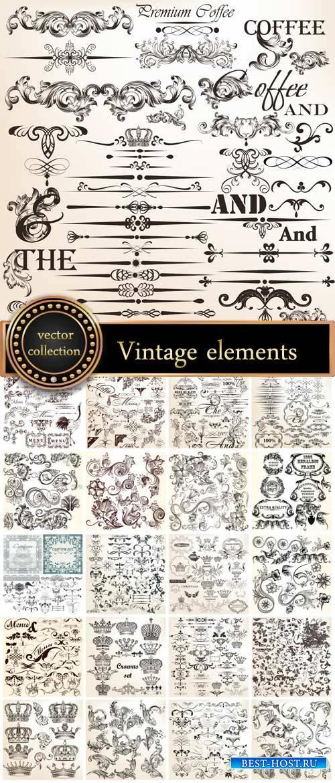Vintage decorative elements, scrolls, ornaments vector