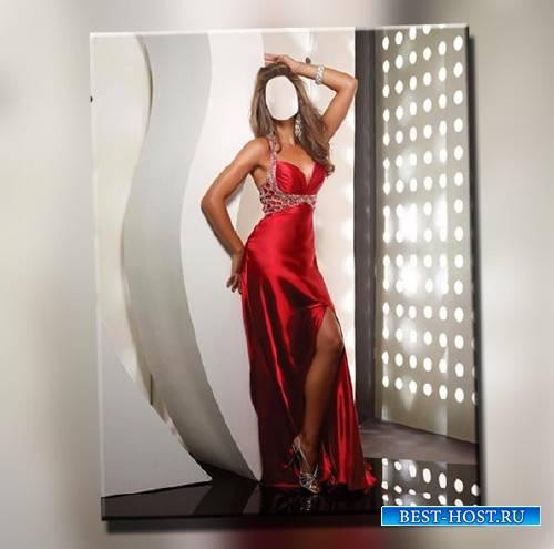 Шаблон psd - В красном платье