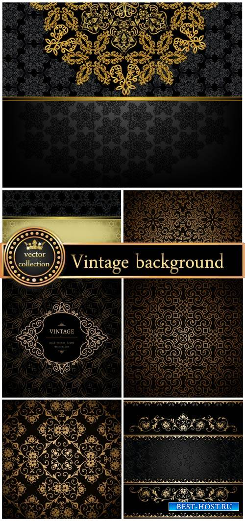 Black vintage backgrounds vector backgrounds with patterns