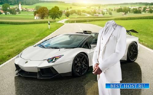 Photoshop шаблон - С белым спортивным авто
