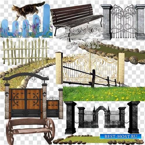 Газоны и садовые дорожки, забор, ограда, скамейки - клипарт в png