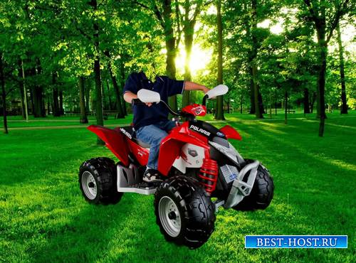 Шаблон для фотошопа  - Мальчик на квадроцикле