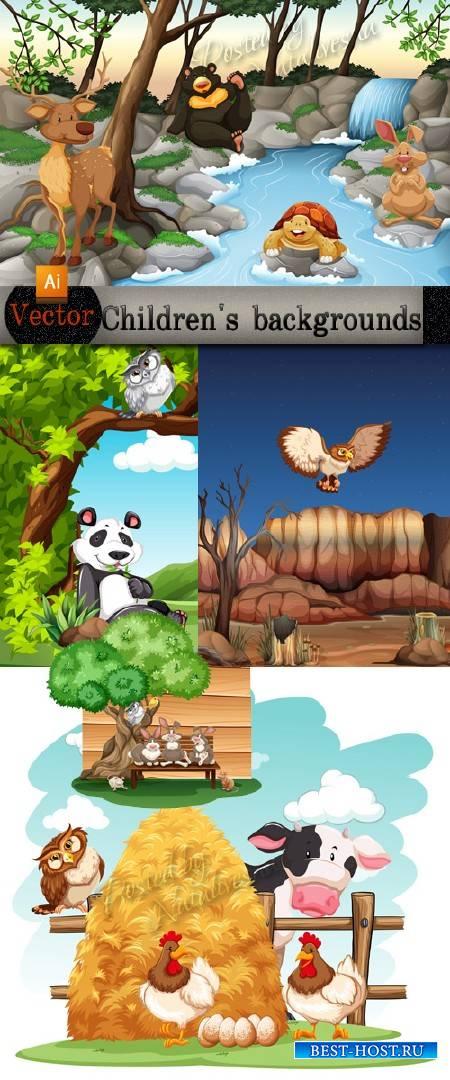 Детские фоны в Векторе с лесными и домашними животными