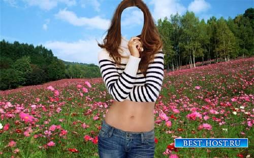 Шаблон psd - В цветочном поле