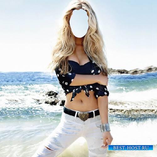 Женский фото шаблон - Я на море