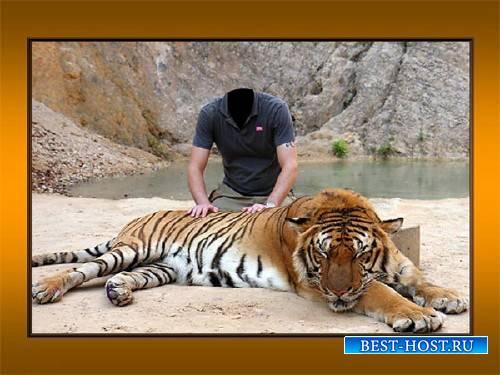 Шаблон для фотомонтажа - Вместе с большим тигром
