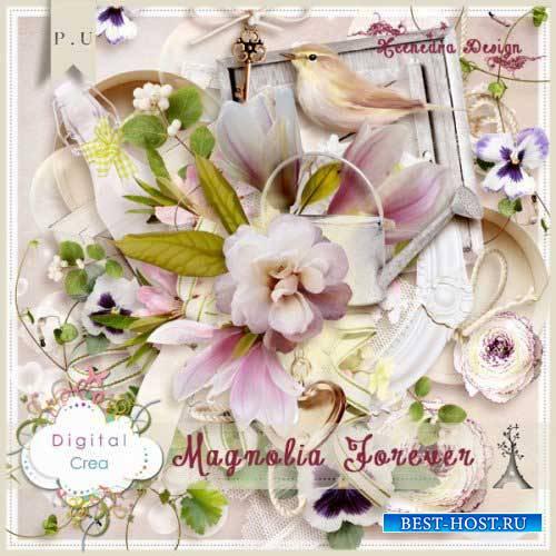 Цветочный скрап-комплект - Вечная магнолия