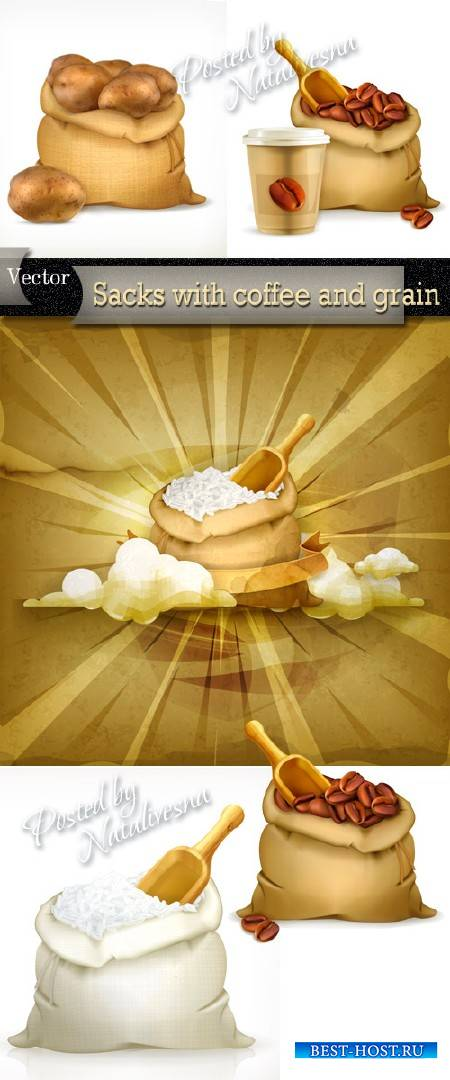 Мешочки с кофе, картошкой и рисом в Векторе