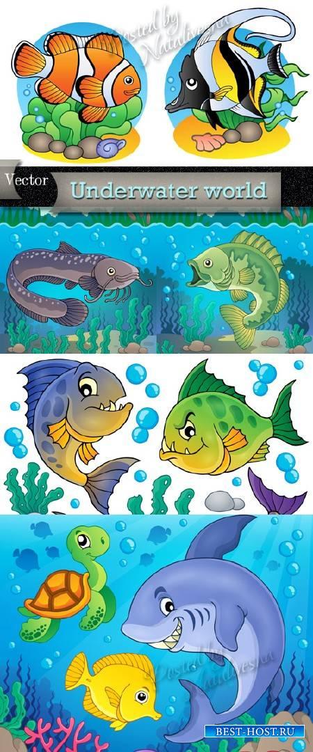 Подводный мир в Векторе – Рыбки, дельфины, черепахи