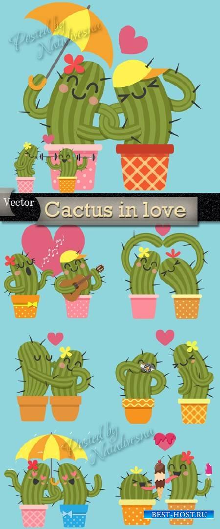 Влюбленный кактус - Подборка векторного клипарта