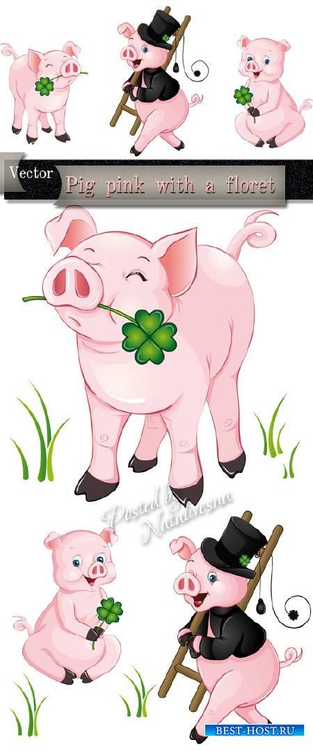 Розовая свинка во фраке с цветком  в Векторе