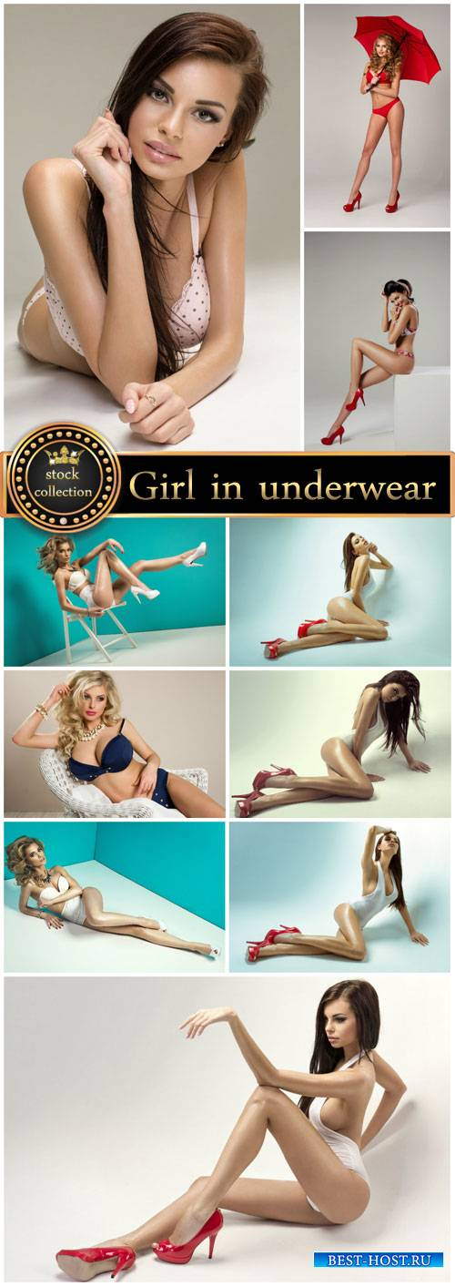 Girls in bathing suits and underwear - stock photos