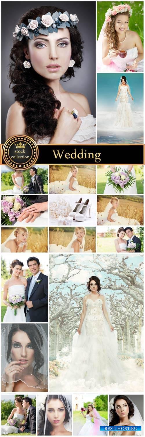 Wedding, beautiful bride, groom - stock photos