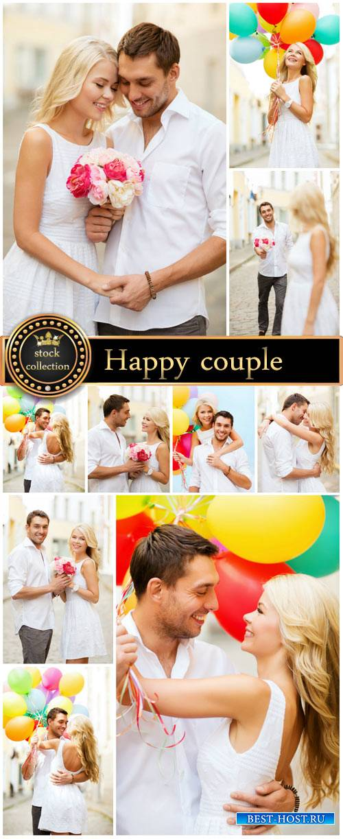 Happy couple with balloons - stock photos