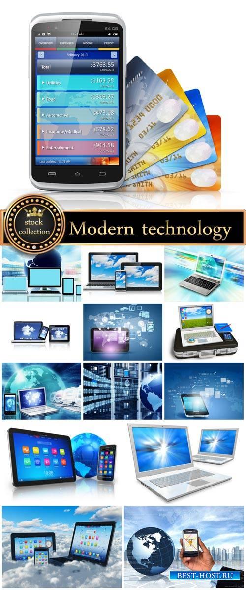 Modern technology, smartphone, laptop - stock photos
