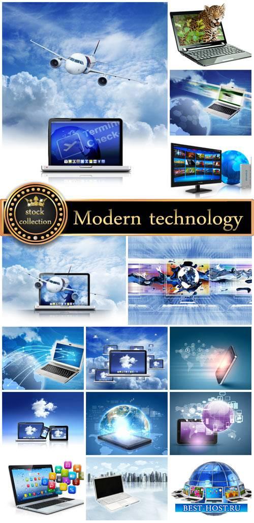 Modern technology, laptops - stock photos