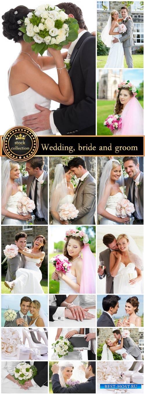 Wedding, bride and groom, marriage - stock photos