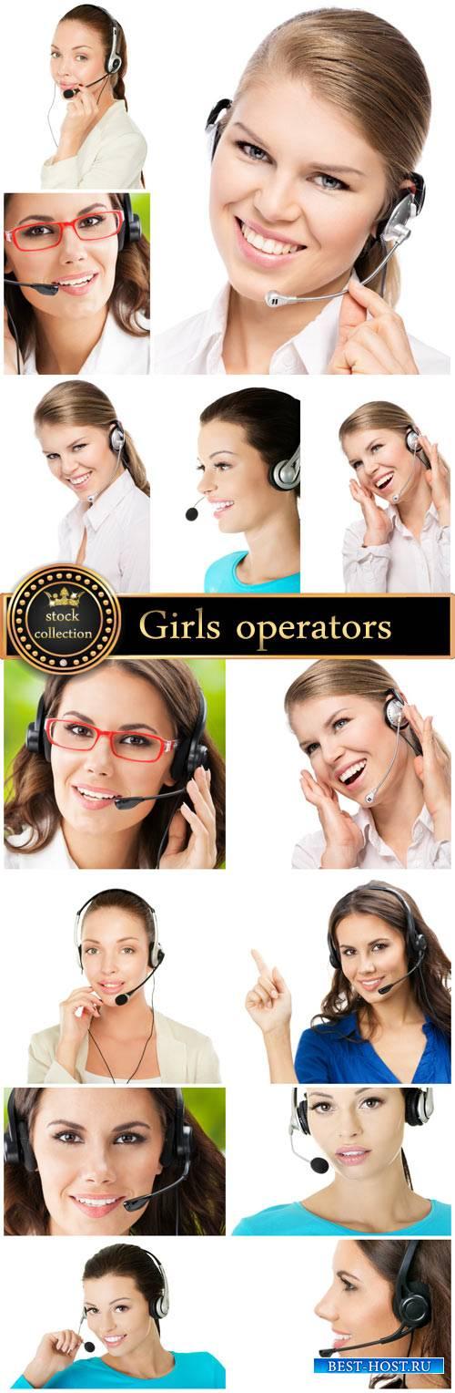 Girls operators work - stock photos