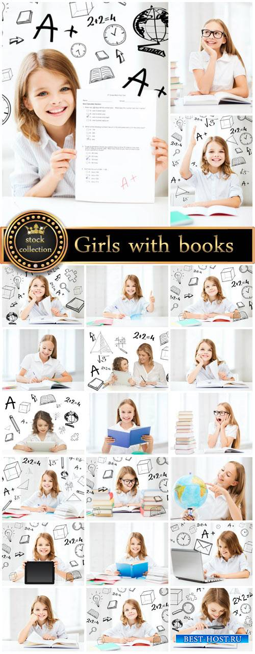 Girls with books and notebooks, schoolgirl - stock photos
