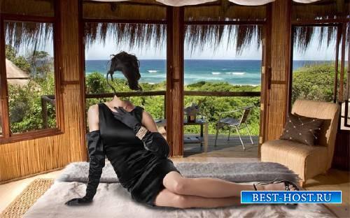 Шаблон для Photoshop - На кровати в черном платье