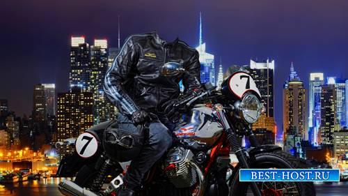 Шаблон для фотошопа  - На мотоцикле по ночному городу