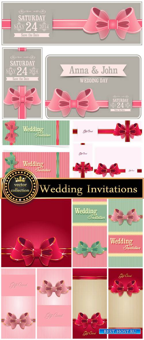 Wedding Invitations with ribbons, vector backgrounds