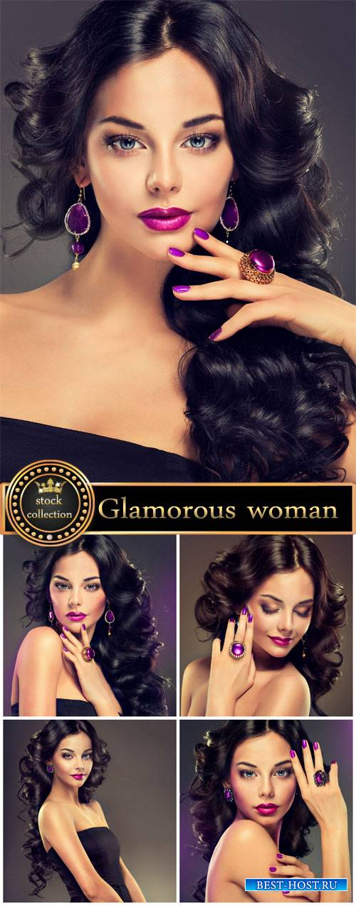 Glamorous woman with beautiful jewels - stock photos