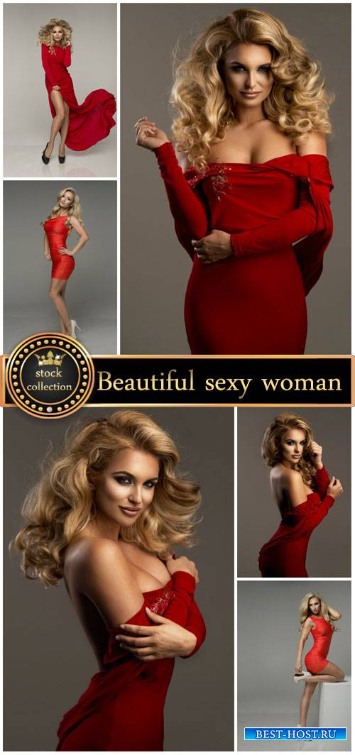 Sexy woman in red dress - Stock Photo