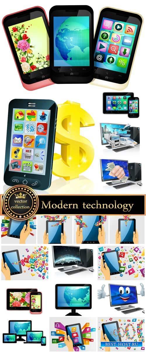 Modern technology vector, laptop, smartphone