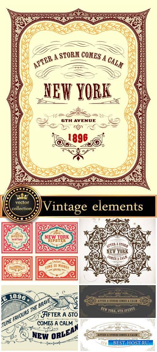 Vintage elements vector background