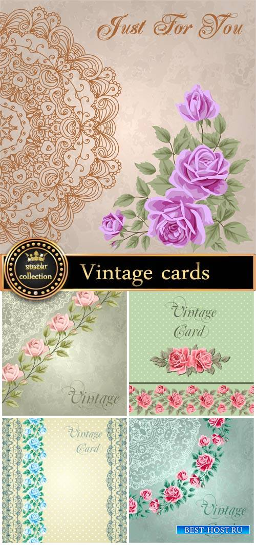 Vintage card with flowers and patterns, backgrounds vector