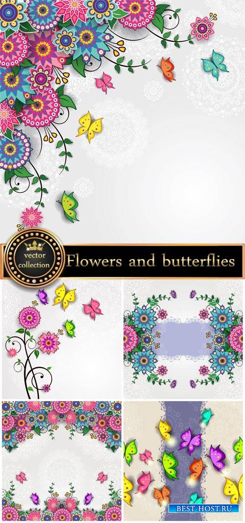 Flowers and butterflies, vector backgrounds