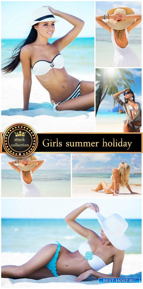 Girls summer vacation by the sea - stock photos