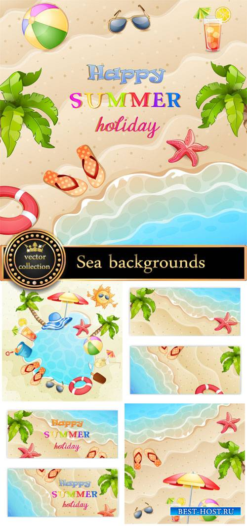 Marine vector backgrounds, summer #5