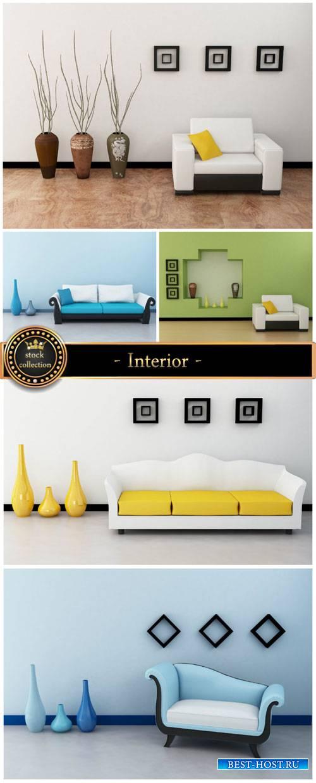 Interior, sofas, armchairs - Stock Photo