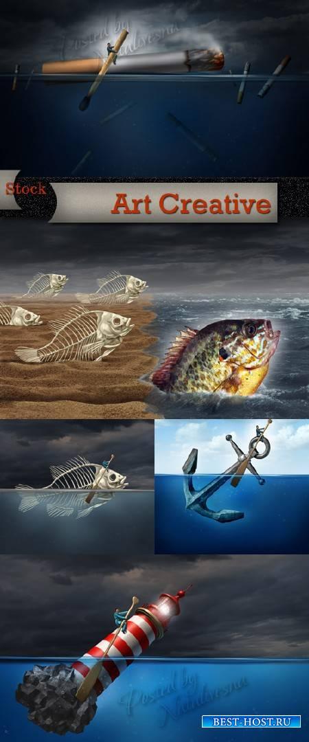 Арт Креатив на морскую тему - Скелет рыбы, якорь и маяк