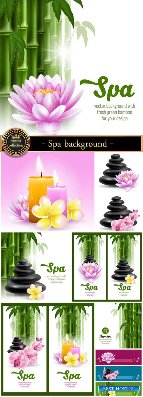 Spa background in vector, bamboo, lotus, orchid