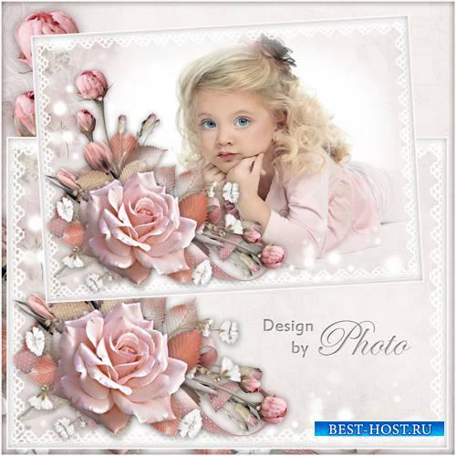 Нежная цветочная рамка для фото с розовыми розами