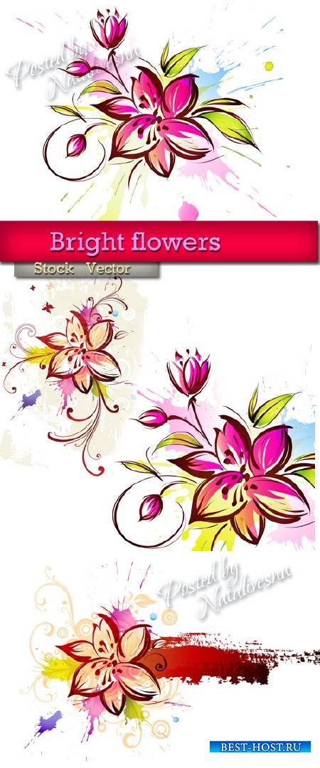 Яркие цветы для Декора в Векторе