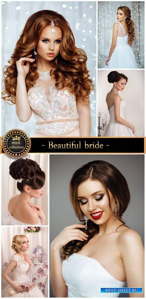 Beautiful bride, wedding dress - stock photos