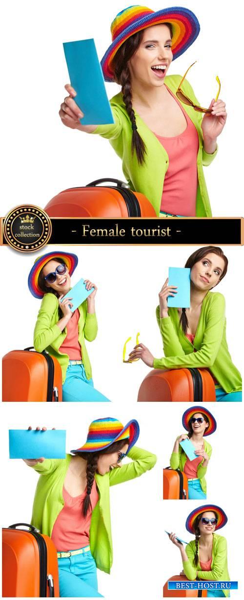 Female tourist , traveling - stock photos