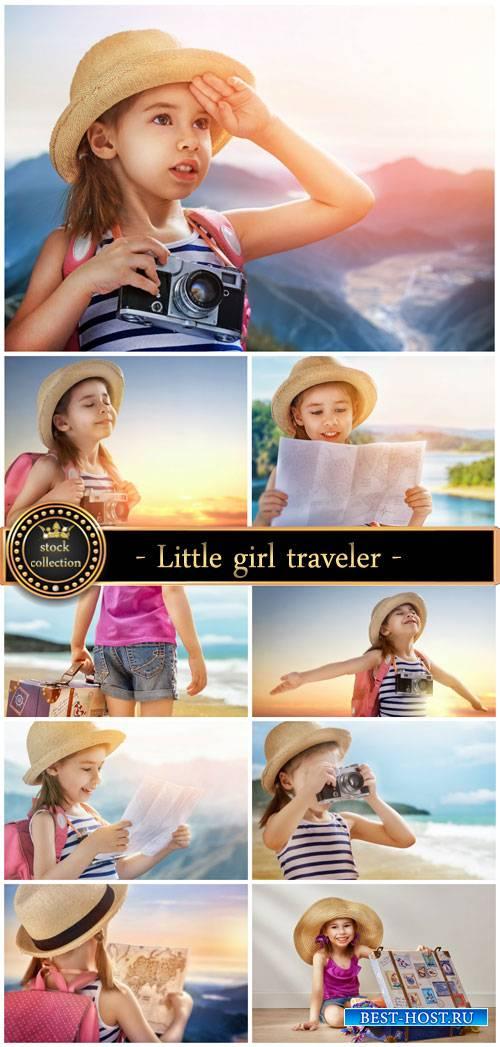 Little girl traveler - stock photos