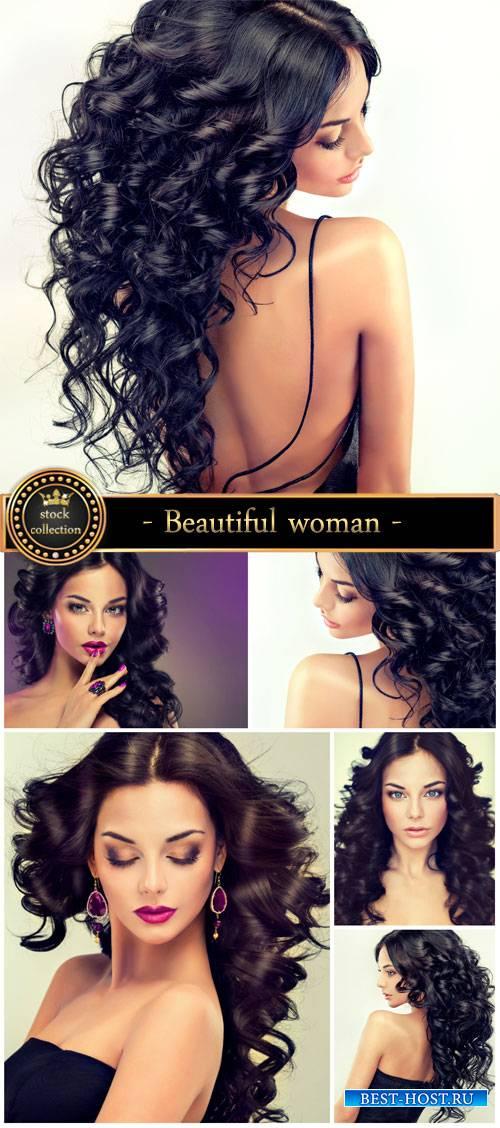 Beautiful dark-haired woman - Stock Photo