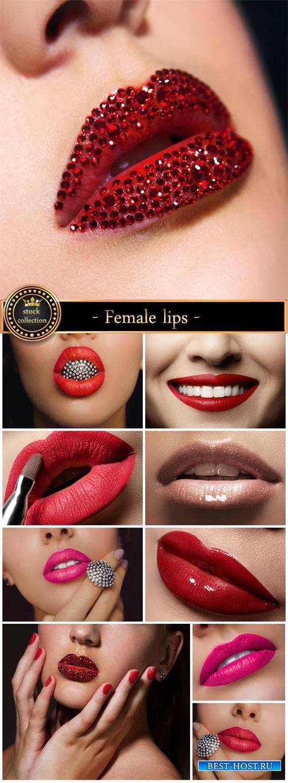 Female lips, make-up - stock photos