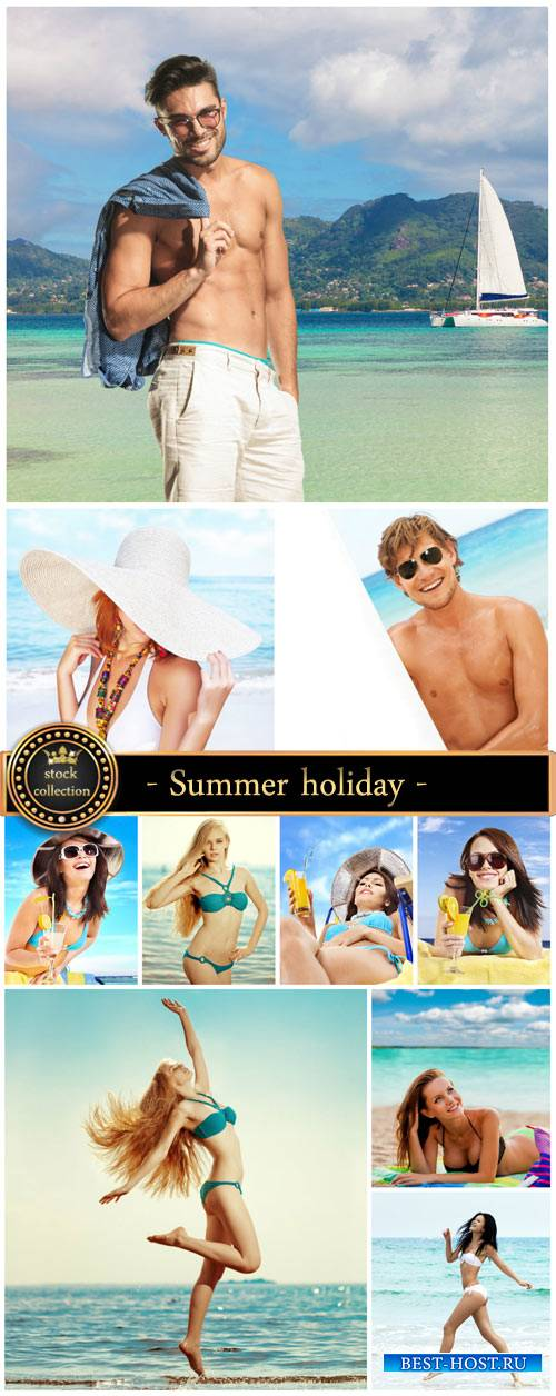 Summer holiday on the sea, man and a woman - stock photos