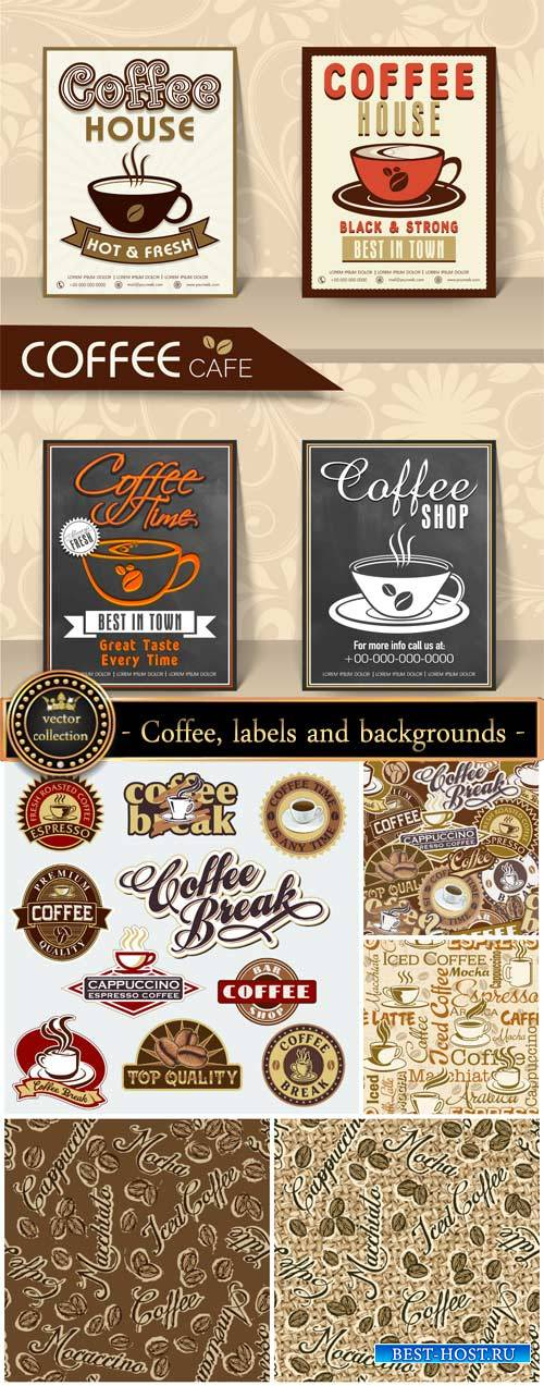 Coffee, labels and backgrounds vector #5