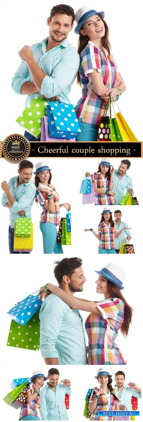 Cheerful couple shopping - Stock photo