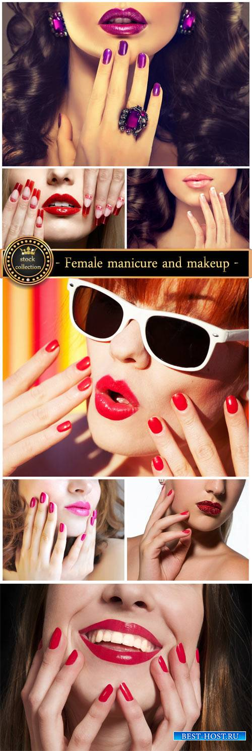Female manicure and makeup - stock photos