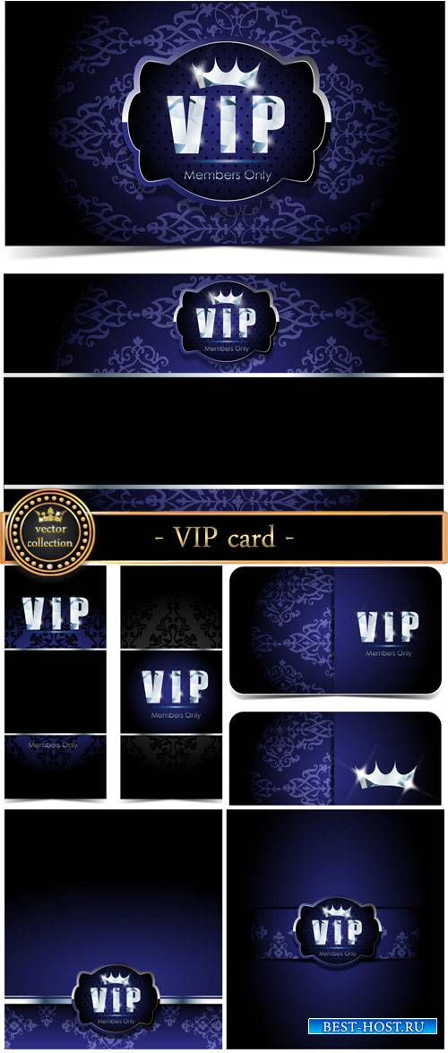 Dark blue VIP card, vector backgrounds